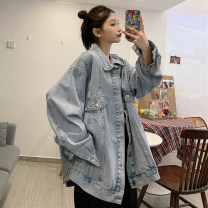 Women's large Spring 2021 Light blue, black S. M, l (100-125 kg recommended), XL (125-150 kg recommended), 2XL (150-175 kg recommended), 3XL (175-200 kg recommended) to ensure that the real object is consistent with the picture Jacket / jacket singleton  commute easy moderate Cardigan Long sleeves