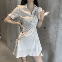 Dress Summer 2021 White, black S. M, l (recommended 100-120 kg), XL (recommended 120-140 kg), 2XL (140-160 kg recommended), 3XL (160-180 kg recommended), 4XL (180-200 kg recommended), to ensure that the real object is consistent with the picture Short skirt singleton  Short sleeve commute Polo collar