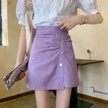 skirt Summer 2021 L (100-120 kg), XL (120-140 kg), 2XL (140-160 kg), 3XL (160-180 kg), 4XL (180-200 kg) are recommended to ensure that the objects are consistent with the pictures Purple, black Short skirt commute High waist A-line skirt Solid color Type A 31% (inclusive) - 50% (inclusive)