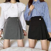 skirt Summer 2021 Gray, black Short skirt commute High waist A-line skirt Solid color Type A 31% (inclusive) - 50% (inclusive) other Other / other polyester fiber Button Korean version