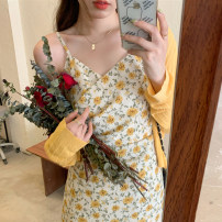 Dress Summer 2021 Yellow cardigan, pink cardigan, yellow floral skirt, pink floral skirt S. M, l (100-120 kg recommended), XL (120-140 kg recommended), 2XL (140-160 kg recommended), 3XL (160-180 kg recommended) to ensure that the real object is consistent with the picture Mid length dress Sleeveless