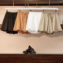 Casual pants Light green, white, black, brown 50. XL, 2XL, 3XL, 4XL, ensure the consistency between the real object and the picture Summer of 2019 shorts Wide leg pants High waist commute routine 18-24 years old 31% (inclusive) - 50% (inclusive) Other / other polyester fiber Korean version Bandage