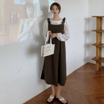 Women's large Autumn 2020 Black skirt with white base, camel skirt with white base L (100-120 kg), XL (120-140 kg), 2XL (140-160 kg), 3XL (160-180 kg), 4XL (180-200 kg) are recommended to ensure that the objects are consistent with the pictures Dress Two piece set commute easy moderate Socket routine