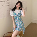 Dress Summer 2021 Fake two pieces L (recommended 100-120 kg), XL (recommended 120-140 kg), 2XL (recommended 140-160 kg), 3XL (recommended 160-180 kg), to ensure that the real object is consistent with the picture Short skirt Two piece set Short sleeve commute V-neck High waist Solid color Socket