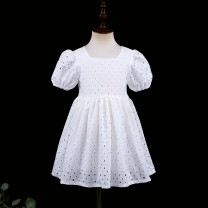 Dress White square collar, orange square collar female Childhooddays / Xiong Yinuo 80cm, 90cm, 100cm, 110cm, 120cm, 130cm, 140cm, 150cm, 155cm, 160cm, 165cm, mom s, mom m, mom L, mom XL Cotton 100% summer French Short sleeve Solid color Pure cotton (100% cotton content) Pleats Class B Wuxi City