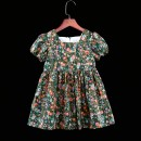 Dress Multicolor flowers on green background female Childhooddays / Xiong Yinuo 73cm, 80cm, 90cm, 100cm, 110cm, 120cm, 130cm, 140cm, 150cm, 155cm, 160cm, 165cm, mom s, mom m, mom L, mom XL Cotton 100% summer lady Short sleeve Broken flowers Pure cotton (100% cotton content) Fluffy skirt Class B