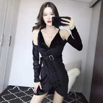 Dress Winter of 2018 black S,M,L Short skirt singleton  Long sleeves commute V-neck High waist Solid color Socket One pace skirt routine Others 18-24 years old Type H Other / other Korean version Hollowing, folding, asymmetry T57609# More than 95% brocade polyester fiber