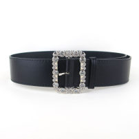Belt / belt / chain Pu (artificial leather) Black, red, white, coffee female belt Versatile Single loop Youth, youth, middle age Pin buckle Diamond inlay soft surface 5cm alloy Naked, inlaid, Rhinestone 104cm