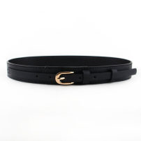 Belt / belt / chain Pu (artificial leather) black female belt Versatile Single loop Youth, youth, middle age Pin buckle Glossy surface soft surface 3cm alloy alone