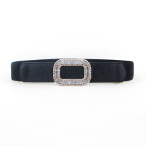 Belt / belt / chain other female Waistband Versatile Single loop Youth, youth Smooth button Diamond inlay soft surface 4cm alloy Bare, inlaid, Rhinestone, elastic 70cm
