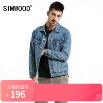 Jacket Simwood Youth fashion blue 165/S,170/M,175/L,180/XL,185/XXL,190/XXXL routine Self cultivation Other leisure spring Cotton 100% Long sleeves Wear out Lapel Simplicity in Europe and America youth routine Single breasted Straight hem washing Closing sleeve other Denim Button decoration cotton
