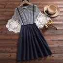 Dress Summer 2021 S M L XL 2XL 3XL 4XL Middle-skirt singleton  Short sleeve Sweet Crew neck Elastic waist stripe Socket A-line skirt Lotus leaf sleeve Under 17 Type A Yufeifan Embroidery 51% (inclusive) - 70% (inclusive) cotton Cotton 65% polyester 35% college Pure e-commerce (online only)