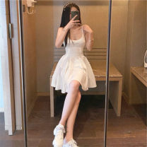 Lace / Chiffon Summer 2021 white S M Sleeveless commute singleton  Super short V-neck Solid color routine 18-24 years old Ba Hanmei Korean version 91% (inclusive) - 95% (inclusive) Other 100% polyester fiber