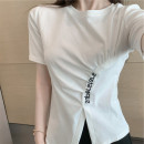 shirt White black S M L Summer 2021 cotton 96% and above Long sleeves commute Regular Crew neck routine Solid color 18-24 years old Self cultivation Ba Hanmei Korean version Cotton 96% other 4%