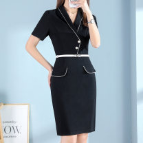 Dress 30% and below nylon Type X Stitched button zipper other Viscose fiber (viscose fiber) 67% polyamide fiber (polyamide fiber) 28% polyurethane elastic fiber (spandex) 5% Pure e-commerce (online sales only) Summer 2021 Middle-skirt singleton  commute Short sleeve V-neck Solid color 25-29 years old