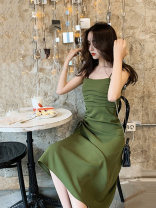 Women's large Summer 2020 Green suspender skirt black suspender skirt L XL S M Two piece set commute Sleeveless Solid color Korean version One word collar other Ou Yulin 25-29 years old 96% and above Medium length Other 100% Pure e-commerce (online only)