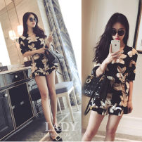 Casual pants Picture color Summer of 2018 shorts Jumpsuit low-waisted street 18-24 years old Ou Yulin other Lotus leaf edge Other 100% Pure e-commerce (online only) Europe and America