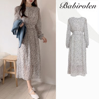 Dress Autumn 2020 Picture color S,M,L,XL longuette singleton  Long sleeves commute Crew neck High waist Broken flowers routine Others 18-24 years old Type A Korean version Chiffon