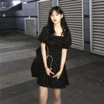 Dress Summer 2020 Black, apricot S,M,L,XL Short skirt singleton  commute square neck High waist Broken flowers zipper A-line skirt puff sleeve 18-24 years old Type A Korean version Chiffon