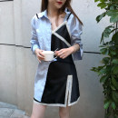 Dress Summer of 2018 wathet SMLXL Short skirt Two piece set Long sleeves commute Polo collar High waist Solid color other Irregular skirt other camisole 25-29 years old Type A Zi Nu Ge Korean version A72104 Polyester 95% cotton 5% Pure e-commerce (online only)