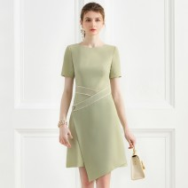 Dress Summer 2020 green UK4/XS,UK6/S,UK8/M,UK10/L,UK12/XL Middle-skirt singleton  Short sleeve commute Crew neck High waist Solid color zipper One pace skirt routine 25-29 years old Type H 1 ONE CHIC Stitching, asymmetry, zipper DMF2002