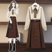 Women's large Spring 2021 Top skirt suit skirt Two piece set commute easy moderate Socket Long sleeves Solid color Korean version Polo collar routine Three dimensional cutting routine JMJFL6025*` Jiumei 25-29 years old Button Medium length Other 100% Pure e-commerce (online only) other bow