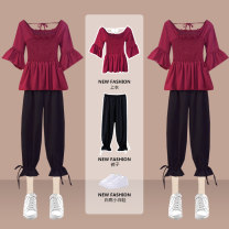 Women's large Summer 2021 Picture set Large XL (recommended weight 120-140 kg) large 2XL (recommended weight 140-160 kg) large 3XL (recommended weight 160-180 kg) large 4XL (recommended weight 180-200 kg) large 5XL (recommended weight 200-220 kg) Other oversize styles Two piece set commute thin Pant