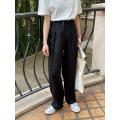 Casual pants Black, hemp S, M Spring 2021 trousers Wide leg pants Natural waist Other styles Thin money 81% (inclusive) - 90% (inclusive) the mind hemp fold hemp