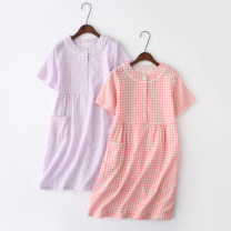 Pajamas / housewear set female Other / other S,M,L,XL NW Short Sleeve Plaid Skirt - pink plaid, NW Short Sleeve Plaid Skirt - Purple Plaid cotton