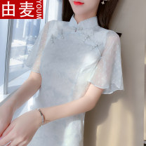 T-shirt Picture color S M L XL Spring 2021 Short sleeve stand collar Self cultivation Medium length Lotus leaf sleeve Sweet other 96% and above 25-29 years old youth Solid color You mai QU5557878 Pleated zipper stitching three-dimensional decorative button Ruffle fold Other 100% solar system