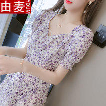 T-shirt Purple long S M L XL Spring 2021 Short sleeve V-neck Self cultivation Medium length puff sleeve Sweet other 96% and above 25-29 years old youth Broken flowers You mai ukBM51794 3D printing pleated zipper stitching open line decorative auricular wave Ruffle fold Other 100% solar system