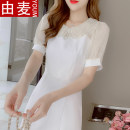 T-shirt Picture color S M L XL Summer 2021 Short sleeve Doll Collar Self cultivation Medium length puff sleeve Sweet other 96% and above 25-29 years old youth Solid color You mai JKHD2452357 3D zipper stitching three-dimensional decorative yarn mesh Ruffle nail bead Other 100% solar system