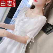 T-shirt white S M L XL Summer 2021 Short sleeve V-neck Self cultivation Medium length Lotus leaf sleeve Sweet other 96% and above 25-29 years old youth Solid color You mai GFGH4764566 Pleated zipper stitching auricular button Ruffle Other 100% Exclusive payment of tmall solar system