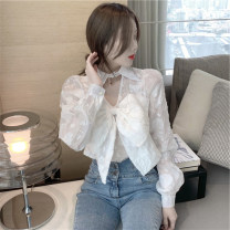 shirt white S M L XL Summer 2021 polyester fiber 96% and above Long sleeves commute Regular V-neck routine Solid color 25-29 years old Straight cylinder Mo Ge Lace Polyester 100% Pure e-commerce (online only)