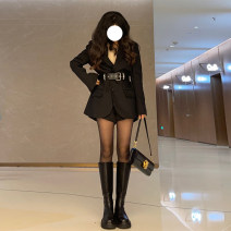 Dress Spring 2021 black S M L XL Mid length dress Long sleeves commute tailored collar Solid color Single breasted routine Oblique shoulder 25-29 years old Mo Ge Button More than 95% polyester fiber Polyester 100%