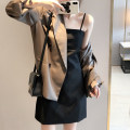 Dress Autumn 2020 Black suspender skirt suit coat S M L XL Short skirt Two piece set Sleeveless commute One word collar High waist Solid color Socket A-line skirt routine camisole 18-24 years old Mo Ge Korean version More than 95% polyester fiber Polyester 100% Pure e-commerce (online only)