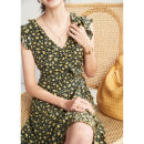 Dress Summer of 2019 Yellow floret 100% 6A silk S M L Mid length dress Short sleeve V-neck 25-29 years old Quarterly account JS-Z-031 More than 95% Crepe de Chine silk Mulberry silk 100% Pure e-commerce (online only)