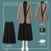 Fashion suit Autumn 2020 S M L XL XXL XXXL Coffee suit + black skirt suit + skirt + base coffee suit black skirt blue suit + black skirt blue suit + white long t-black skirt blue suit 25-35 years old Lungge SY6003-PX5378 Polyester 95% polyurethane elastic fiber (spandex) 5%