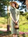 cheongsam Summer 2020 S M L XL XXL XXXL green Short sleeve Short cheongsam Retro Low slit daily Oblique lapel lattice Piping JLM-2331 LAN Guiyu other Other 100% Pure e-commerce (online only) 96% and above
