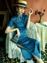 cheongsam Spring 2021 M L XL XXL XXXL Lake blue Short sleeve long cheongsam Retro High slit daily Oblique lapel Solid color Piping BJS-8370 LAN Guiyu other Other 100% Pure e-commerce (online only) 96% and above