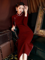 cheongsam Winter 2020 M L XL XXL XXXL XXXXL claret three quarter sleeve long cheongsam Retro High slit daily Oblique lapel Solid color Piping JLM-9310 LAN Guiyu other Other 100% Pure e-commerce (online only) 96% and above