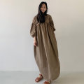 Dress Summer 2020 brown S M L XL longuette elbow sleeve commute Solid color bishop sleeve 25-29 years old Yizexiang Korean version Cotton and hemp lantern sleeves 31% (inclusive) - 50% (inclusive) cotton Cotton 35% flax 35% polyester 30% Pure e-commerce (online only)