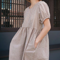 Dress Summer of 2019 BEIGE BLACK S M L XL Mid length dress Short sleeve commute Crew neck High waist lattice A-line skirt 25-29 years old Yizexiang Korean version Baby skirt with small bubbles More than 95% polyester fiber Polyester 100% Pure e-commerce (online only)