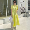 Dress Summer of 2019 yellow S M L XL Mid length dress Short sleeve commute Crew neck Solid color Socket 18-24 years old Yizexiang Korean version More than 95% cotton Cotton 100% Pure e-commerce (online only)