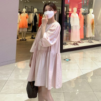 Dress Summer 2021 Pink Black S M L XL Mid length dress Long sleeves commute Crew neck Solid color 18-24 years old Yizexiang Korean version 2 color skirt 326 More than 95% polyester fiber Polyester 100% Pure e-commerce (online only)