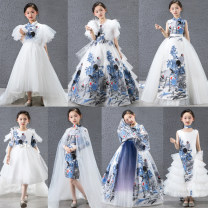 Children's dress A, B, C, D, e, F, G female 110cm, 120cm, 130cm, 140cm, 150cm, customized Coagulation full dress Class B polyester Polyester 100% Chinese style