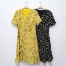 Dress Spring 2021 Yellow, black S,M,L,XL longuette singleton  Short sleeve commute V-neck middle-waisted Broken flowers Socket A-line skirt routine 25-29 years old Type A printing TA-CD515-031905 Chiffon polyester fiber