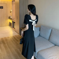Dress Summer 2021 black S,M,L Miniskirt singleton  Short sleeve commute square neck High waist Solid color Socket A-line skirt routine Others Type A Korean version other other