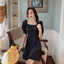 Dress Summer 2021 White, purple, black Average size singleton  Short sleeve commute square neck High waist Solid color Socket A-line skirt puff sleeve Others Type A Korean version other other