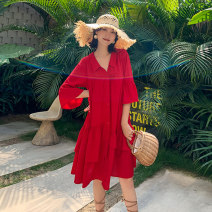 Dress Summer 2021 gules XS S M L XL XXL Mid length dress singleton  elbow sleeve Sweet Polo collar Loose waist Solid color Socket Ruffle Skirt Lotus leaf sleeve 25-29 years old Yinzeun / contrast Asymmetric button with ruffle stitching More than 95% Chiffon polyester fiber Polyester 100% Bohemia